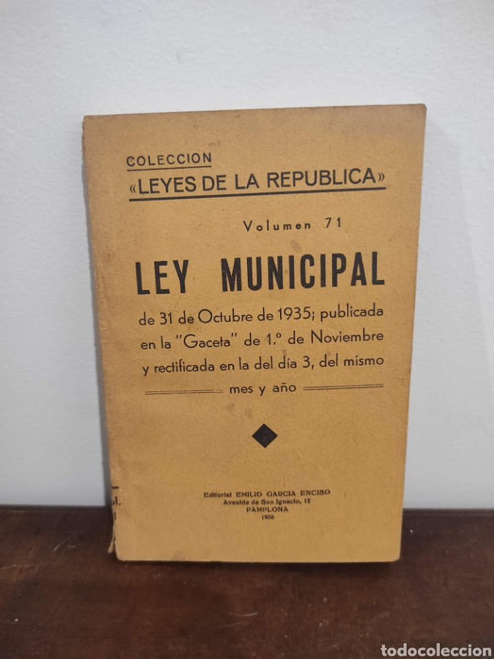 LEYES DE LA REPUBLICA, VOL 71. LEY MUNICIPAL. 1935 (Libros Antiguos, Raros y Curiosos - Ciencias, Manuales y Oficios - Derecho, Economía y Comercio)