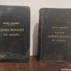 Libros antiguos: MEDINA Y MARAÑÓN. LEYES ADMINISTRATIVAS / LEYES PENALES. 1915. Lote 289705948