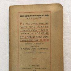 Libros antiguos: MANUEL CASÁS FERNÁNDEZ. EL ALCOHOLISMO INFANTIL COMO CAUSA DE DEGENERACIÓN.., LA CORUÑA, 1914.. Lote 293932418