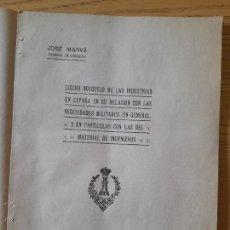 Libros antiguos: BOSQUEJO DE LAS INDUSTRIAS EN ESPAÑA EN SU RELACIÓN CON LAS NECESIDADES MILITARES, JOSÉ MARVÁ, 1917. Lote 295439398