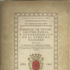 Libros antiguos: LIBERTAD DE TESTAR EN NAVARRA, 1948. FOLLETO DE 38 PÁG.. Lote 295811563