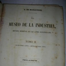 Libros antiguos: EL MUSEO DE LA INDUSTRIA, REVISTA MENSUAL DE LAS ARTES INDUSTRALES, 1871, MARIATEGUI. Lote 26833810