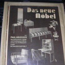 Libros antiguos: DAS NEUE MOBEL , VON PAUL GRIESSER - JULIUS HOFFMANN VERLAG STUTTGART 1932 - 92 PAG. 29,5X23,5 CM. . Lote 37151396