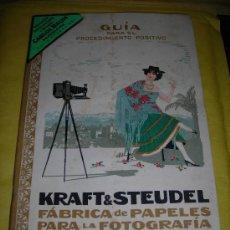 Libros antiguos: FOTOGRAFIA .GUIA PARA EL PROCEDIMIENTO POSITIVO KRAFT&STEUDEL ,FABRICA DE PAPELES PARA LA FOTOGRAFIA. Lote 38433060
