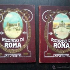 Libros antiguos: RICORDO DI ROMA .PARTE PRIMERA Y SEGUNDA. 30 + 30 VEDUTE. LIBROS DE FOTOGRAFIAS B/N DESPLEGABLES.. Lote 53138033