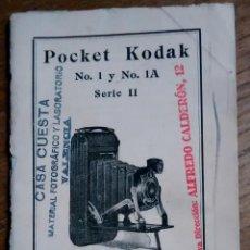 Libros antiguos: LIBRO INSTRUCCIONES POCKET KODAK NO 1 Y 1A- CAMARA DE FUELLE. Lote 64477139