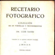 Libros antiguos: SASSI : RECETARIO FOTOGRÁFICO (GILI, 1918). Lote 73521423
