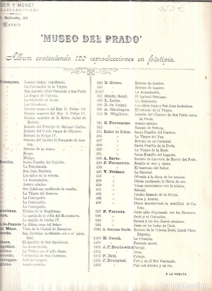 Libros antiguos: MUSEO DEL PRADO. ALBUM CONTENIENDO 120 REPRODUCCIONES EN FOTOTIPIA. HAUSER Y MENET. FOTOGRAFOS-EDIT. - Foto 4 - 111964963