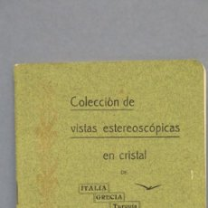 Libros antiguos: RARO! 1908.- COLECCION VISTAS ESTEREOSCOPIAS EN CRISTAL. ITALIA. GRECIA. TURQUIA. PALESTINA. EGIPTO. Lote 143005190