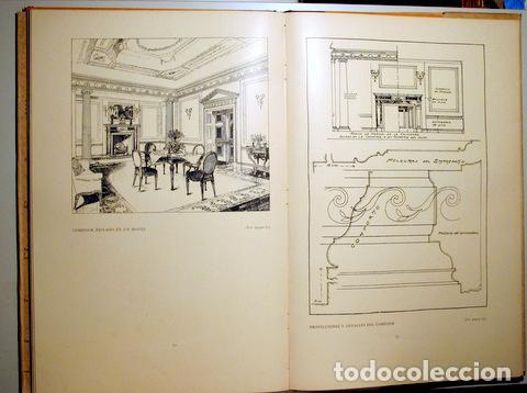 Libros antiguos: HILDESLEY - PROYECTOS DE MOBILIARIO Y DECORACIÓN INGLESES - Barcelona 1929 - Muy ilustrado - Foto 3 - 157687966
