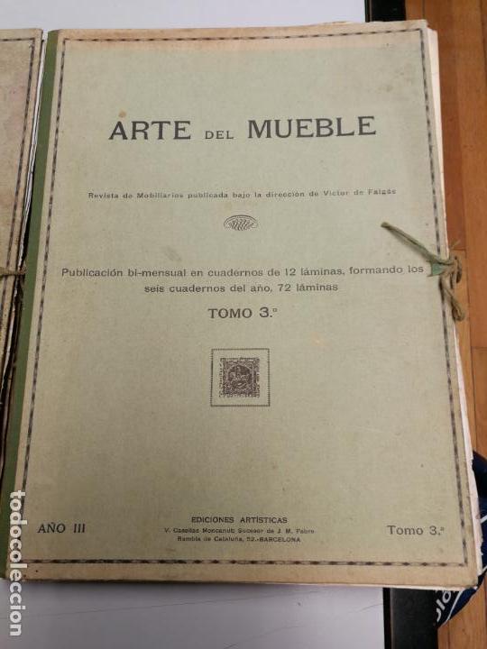 Libros antiguos: ARTE DEL MUEBLE REVISTA DE MOBILIARIOS VICTOR DE FALGÁS TOMO 1 2 3 CUADERNOS DE DISEÑO Y DECORACION - Foto 4 - 157764678