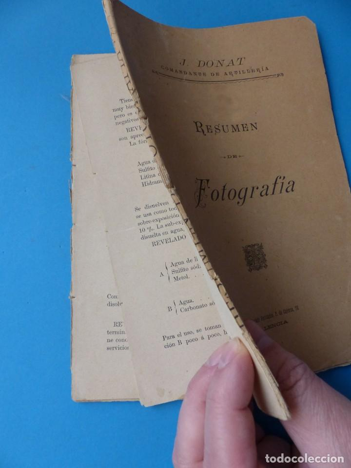 Libros antiguos: RESUMEN DE FOTOGRAFIA - J. DONAT COMANDANTE DE ARTILLERIA, AÑOS 1900-1920, VALENCIA - Foto 2 - 165607266