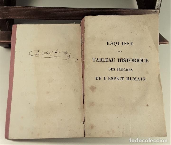 Libros antiguos: ESQUISSE DUN TABLEAU HISTORIQUE DES PROGRÈS DE LESPRIT HUMAIN. CONDORCET. PARÍS. 1822. - Foto 4 - 189094383