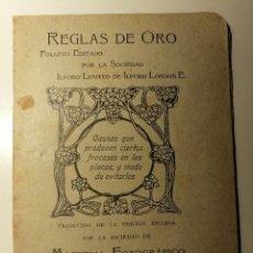 Libros antiguos: PLACAS LFORD, REGLAS DE ORO...SOCIEDAD DE MATERIAL FOTOGRAFICO RIBA S EN C 1920. I.CANALS TARRATS. Lote 195019456