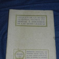 Livres anciens: (MF) MADRID 1911 CREACION DE UN MUSEO ARTÍSTICO, TÉCNICO, INDUSTRIAL DE LAS ARTES GRÁFICAS DEL LIBRO. Lote 210834401
