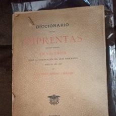 Libros antiguos: DICCIONARIO DE LAS IMPRENTAS EN VALENCIA. SERRANO MORALES, J. E. DOMENECH. VALENCIA, 1898-99. Lote 244835485