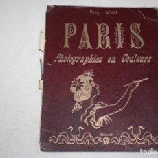 Libros antiguos: ALBÚM DE FOTOGRAFÌAS DE PARIS EN COLOR. AÑO 1930. Lote 295894323
