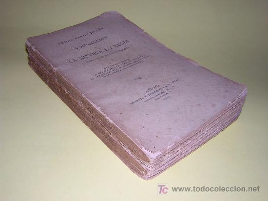 1887 - EMILIA PARDO BAZAN - LA REVOLUCION Y LA NOVELA EN RUSIA - 2 TOMOS - PRIMERA EDICION (Libros antiguos (hasta 1936), raros y curiosos - Literatura - Ensayo)