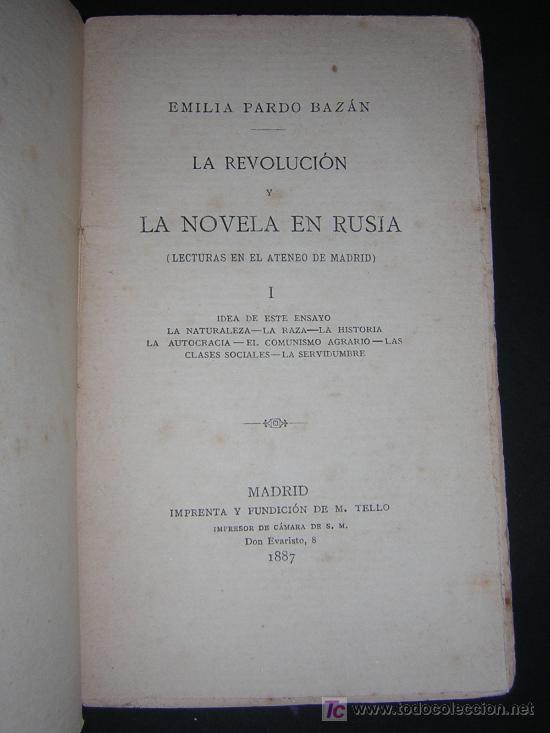 Libros antiguos: 1887 - EMILIA PARDO BAZAN - LA REVOLUCION Y LA NOVELA EN RUSIA - 2 TOMOS - PRIMERA EDICION - Foto 2 - 42012158