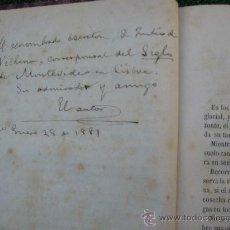 Libros antiguos: 1880. ALEJANDRO MAGARIÑOS CERVANTES. VIOLETAS Y ORTIGAS. DEDICATORIA AUTOGRAFA. PIEL URUGUAY. Lote 26882237