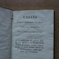 Libros antiguos: ENSAYO SOBRE LA VERSIFICACIÓN MÁS PROPIA PARA LA EPOPEYA EN LAS LENGUAS MODERNAS, .... Lote 18604622