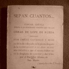 Libros antiguos: ADOLFO BONILLA: CRITICA A LA EDICION DE LAS OBRAS DE LOPE DE RUEDA REALIZADA POR LA REAL ACADEMIA. Lote 26746149