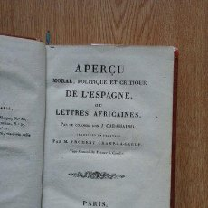 Libros antiguos: APERÇU MORAL, POLITIQUE ET CRITIQUE DE L'ESPAGNE, OU LETTRES AFRICAINES PAR LE COLONEL DON,,,,. Lote 23127952