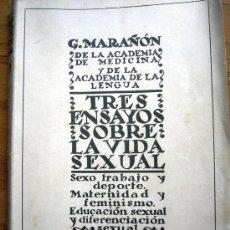 Libros antiguos: TRES ENSAYOS SOBRE LA VIDA SEXUAL, G. MARAÑON, PROL. PEREZ DE AYALA. MADRID 1934.. Lote 27869065