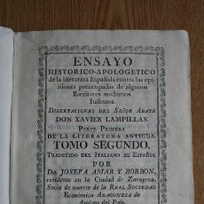Libros antiguos: ENSAYO HISTÓRICO-APOLOGÉTICO DE LA LITERATURA ESPAÑOLA CONTRA LAS OPINIONES PREOCUPADAS DE.... Lote 29415936
