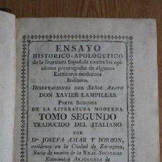 Libros antiguos: ENSAYO HISTÓRICO-APOLOGÉTICO DE LA LITERATURA ESPAÑOLA CONTRA LAS OPINIONES PREOCUPADAS DE.... Lote 29415956