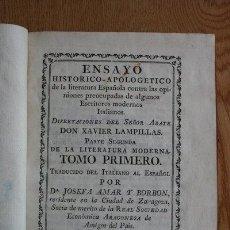 Libros antiguos: ENSAYO HISTÓRICO-APOLOGÉTICO DE LA LITERATURA ESPAÑOLA CONTRA LAS OPINIONES PREOCUPADAS DE.... Lote 29422677