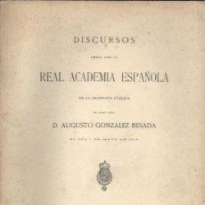 Libros antiguos: AUGUSTO GLEZ. BESADA. SOBRE LA PERSONA Y OBRAS DE ROSALÍA DE CASTRO. (INGRESO R.A.E). 1916. GALICIA. Lote 29900477