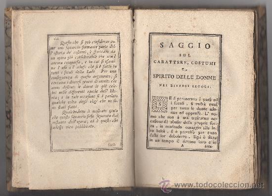 Libros antiguos: SAGGIO SUL CARATTERE, COSTUMI E SPIRITO DELLE DONNE NEI DIVERSI SECOLI. (ANNO 1773). - Foto 2 - 30837107