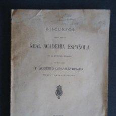 Libros antiguos: GALICIA.'DISCURSOS SOBRE ROSALIA CASTRO' AUGUSTO GONZALEZ BESADA. MADRID 1916. Lote 32661180