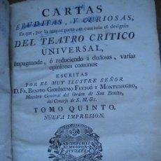 Libros antiguos: CARTAS ERUDITAS Y CURIOSAS... TOMO V (1774) / BENITO GERÓNYMO FEYJOÓ. JOACHIN IBARRA. PERGAMINO.. Lote 34737956