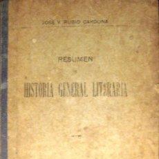 Libros antiguos: RUBIO CARDONA. HISTORIA GENERAL LITERARIA. 1911. Lote 35627432