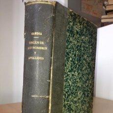 Libros antiguos: 1930.- DEL ORIGEN DE LOS NOMBRES Y APELLIDOS Y DE LA CIENCIA GENEALOGICA. ENRIQUE DE GANDIA. Lote 38122155
