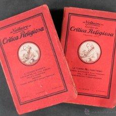 Libros antiguos: CRÍTICA RELIGIOSA. VOLTAIRE. TOMOS I-II. Lote 195320101