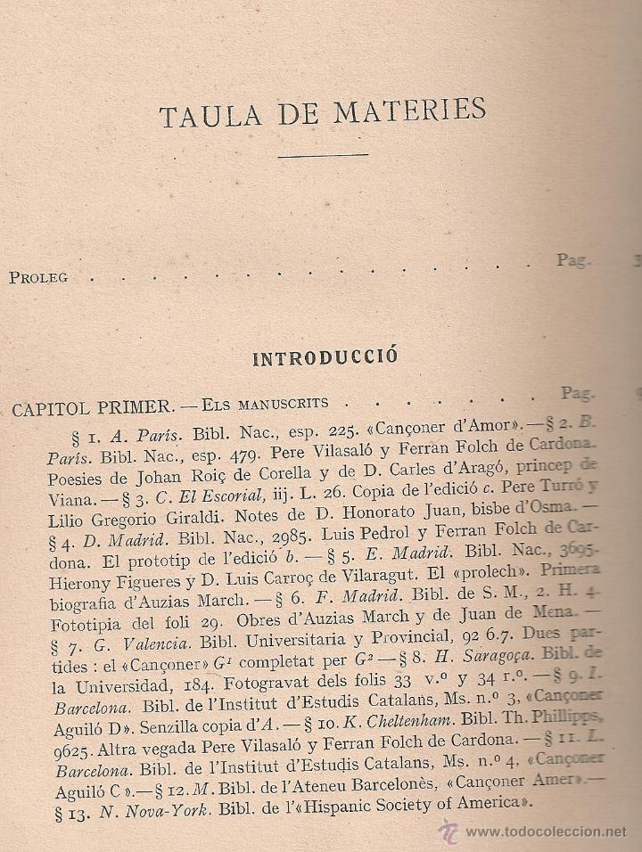 Libros antiguos: Les obres dAuzias March. Edicio critica. Vol. 1 / A. Pages. BCN : IEC, 1912. 26x19cm. 442 p.Ausias - Foto 3 - 43296249