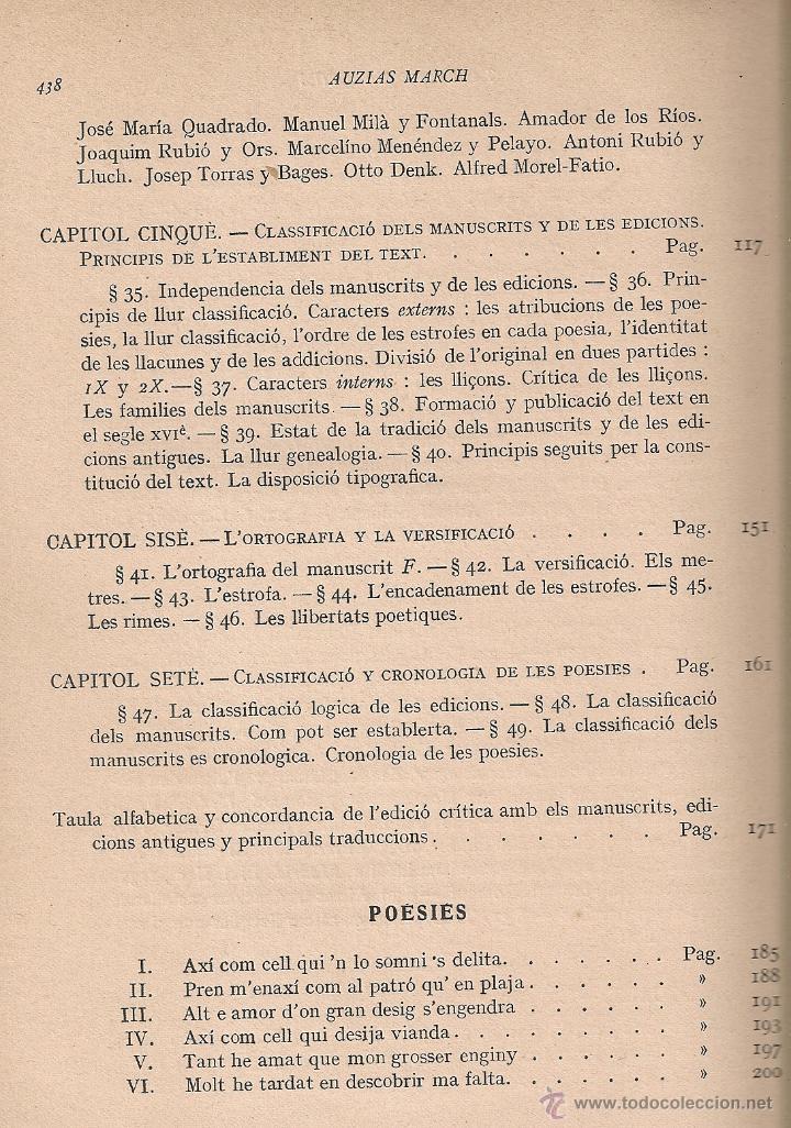 Libros antiguos: Les obres dAuzias March. Edicio critica. Vol. 1 / A. Pages. BCN : IEC, 1912. 26x19cm. 442 p.Ausias - Foto 5 - 43296249