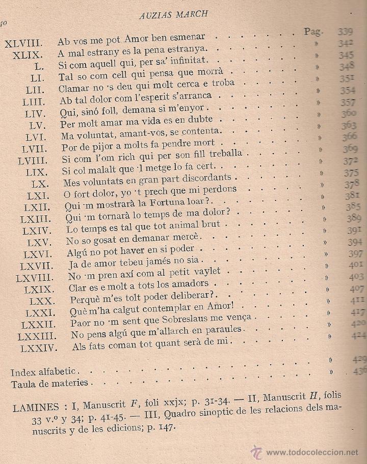 Libros antiguos: Les obres dAuzias March. Edicio critica. Vol. 1 / A. Pages. BCN : IEC, 1912. 26x19cm. 442 p.Ausias - Foto 7 - 43296249