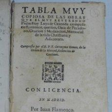 Libros antiguos: (M-3.6) GERONIMO GOMEZ - TABLA MUY COPIOSA DE LAS OBRAS PADRE FRAY LUIS DE GRANADA , MADRID MDCIII. Lote 44271247