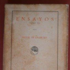 Libros antiguos: ENSAYOS. TOMO VII. MIGUEL DE UNAMUNO. Lote 46916825