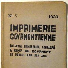 Libros antiguos: GOURMONT, REMY - LABOUREUR, J.E. - IMPRIMERIE GOURMONTIENNE Nº 7 - PARIS 1923 - BOIS. Lote 46450609
