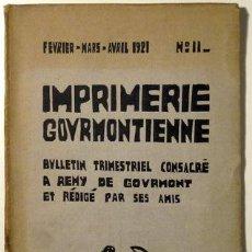 Libros antiguos: GOURMONT, REMY - LABOUREUR, J.E. - IMPRIMERIE GOURMONTIENNE Nª 11 - PARIS 1921 - BOIS INÉDITS. Lote 46526161