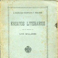 Libros antiguos: CHAMPSAUR Y MILLARES - ENSAYOS LITERARIOS - CANARIAS. Lote 50983776
