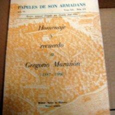 Libros antiguos: PAPELES DE SON ARMADANS - HOMENAJE Y RECUERDO A GREGORIO MARAÑON (1887-1960). Lote 51049720