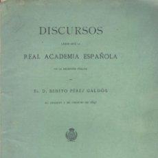 Libros antiguos: BENITO PEREZ GALDÓS. LA SOCIEDAD PRESENTE COMO MATERIA NOVELABLE. (INGRESO R.A.E.). MADRID, 1897. Lote 51783232
