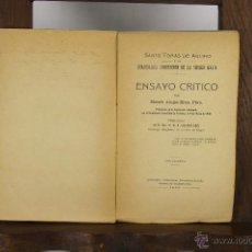 Libros antiguos: 5537 - SANTO TOMAS DE AQUINO. MOISES ALUJAS. LIB. CATOLICA. 1909. DEDICADO.. Lote 46034506