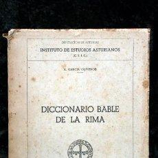 Libros antiguos: ENSAYO DE UN DICCIONARIO BABLE DE LA RIMA - A. GARCIA OLIVEROS - ASTURIAS. Lote 61610368